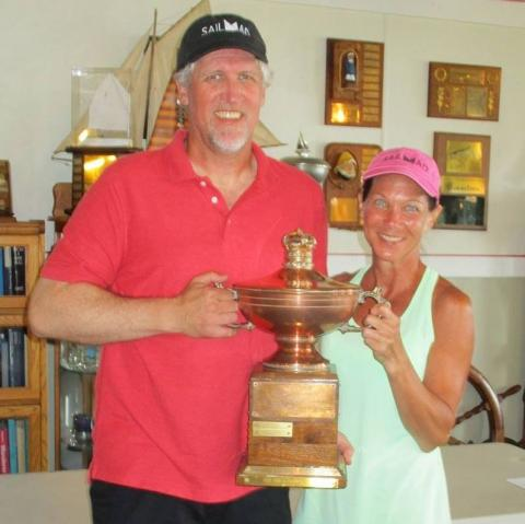 Bruce and Lynn Kitchen proudly hoist the Egyptian Cup!