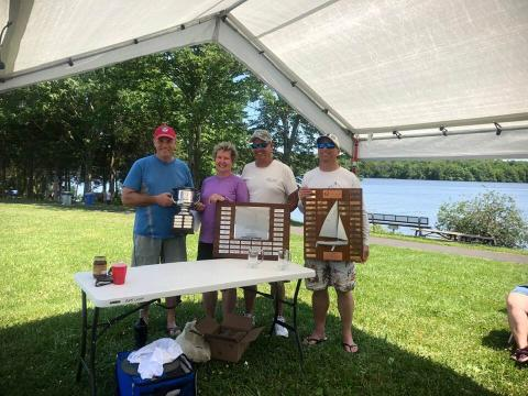 Regatta and Greater New York District Chmapions Dan Vought and David Watts with Regatta Chair Phil Scheetz and Dorothy Wesley,